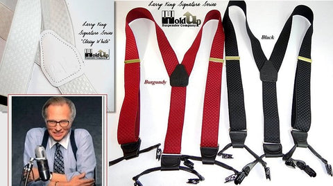 Larry King limited edition signature series Holdup Suspenders are sold here for 54.95