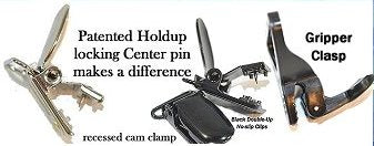 Patented No-slip Holdup suspender clips and the new Gripper Clasp