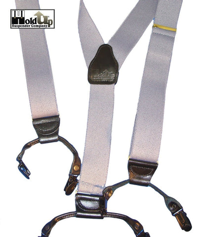 Hold-Ups Silver Fox Gray Casual Series Dual Clip Double-Ups Style Suspenders with No-slip Clips