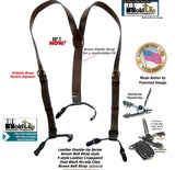 "Hold-Ups Brown Bonded Leather 1"" Belt Strap Men's Suspenders with Patented No-slip Clips"