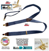 "Holdup Suspenders Y-back Dark Blue Denim Suspenders are 1 1/2"" wide and these feature Gold tone Patented No-slip Clips"
