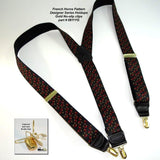 "Hold-Ups French Horn Pattern 1 3/8"" wide Suspenders in Y-back and Patented No-slip Gold Clips"