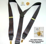 Holdup City Lights Pattern Y-back Suspenders with Patented No-slip Gold-tone Clips