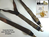 Hold-Ups Walnut Brown Satin Finished Corporate Series Suspenders with Y-back and Gold Clips