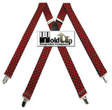 "Hold-Ups Urban Youth Red and Black Checkered Flag 1"" wide Suspenders in X-back with No-Slip Silver Clips"