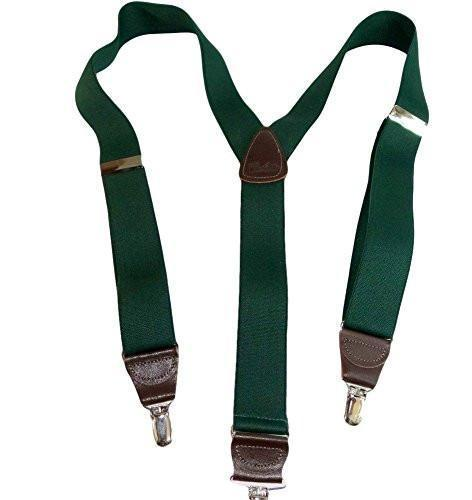 Holdup Brand USA made Hunter Green Men's Clip-On Suspenders with Y-Back and Silver/Chrome Clips