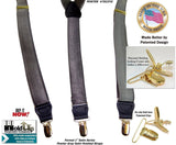 Hold-Ups Formal Pewter Satin Finished Grey Suspenders with Y-back and Gold Clips