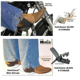 Hold-Ups Biker Stirrups or Boot Straps w/ Patented No-slip Jumbo Nickel Finish Metal Clips