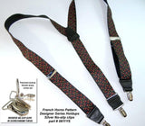 "Hold-Ups French Horn Pattern 1 3/8"" wide Suspenders in Y-back and Patented No-slip Nickel Clips"