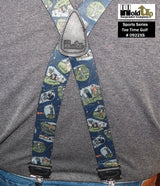 "Hold-Ups Tee Time Golfing Pattern X-back 1 3/8"" wide Suspenders with Patented No-slip silver clips"