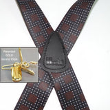 "Hold-Ups City Lights Pattern X-back 1 1/2"" wide Suspenders with Patented gold tone No-slip Gold Clips"
