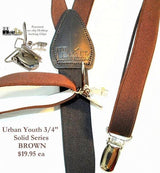 "Hold-Ups Urban Youth 3/4"" Wide Brown Suspender in Y-back with No-slip Clips"