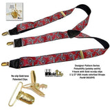 Hold-Ups Red Paisley Pattern Suspenders in Y-back and Patented No-slip Gold Clips