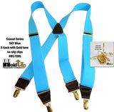 Hold-Ups Sky Blue Casual Series Suspenders X-back with Gold Tone No-slip Clips