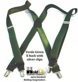 "Hold-Ups Patented No-slip Silver Clips 1"" wide Suspenders in Satin Finish Green X-back"