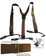 Hold-Ups Formal Chocolate Brown Satin Finished Double-ups Style Suspenders with patented no-slip clips