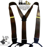 HoldUp's Satin Finished Walnut Brown Double-ups Suspenders in Y-back Style with Patented no-slip clips