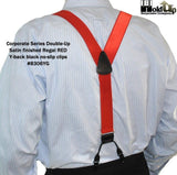 Hold-Ups Red Satin Finish Corporate Series Dual Clip Double-Ups Style Suspenders with No-slip Clips