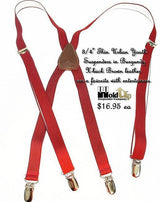 "Hold-Ups Urban Youth 3/4"" Wide Burgundy suspenders in X-back with No-slip Clips"