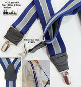 "Hold-Ups Navy & Gray Striped 1 1/2"" Wide Suspenders with Y-back Style and Silver No-slip Clips"