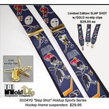 Hold-Ups Slap Shot Hockey Pattern Y-back Suspenders Gold tone no-slip clips Clips