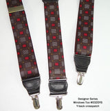 "Hold-Ups Windows Too Pattern 1 3/8"" wide Y-back Suspenders with Patented No-slip Silver Clips"