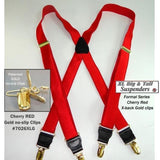 "Hold-Ups XL Red 1"" Wide Satin Finish in X-back style Suspenders with Patented No-slip Gold Clips"