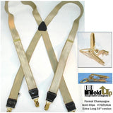 HoldUp XL Suspenders in Champagne Khaki Tan Color in X-backStyle with Gold-tone No-slip Clips