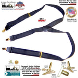 Holdup Jacquard Series Onyx Black on black Y-back style Suspenders with patented No-slip Gold-tone Clips