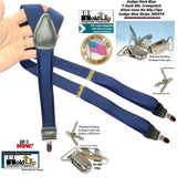 Hold-Ups Indigo Dark Blue on Blue Jacquard Y-back Suspenders Silver Tone No-slip