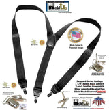 Holdup Brand Black on Black Jacquard weave diamond pattern Y-back suspenders with patented No-slip Nickel Clips