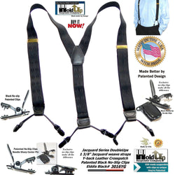 Holdup Brand Black Elddis diamond pattern Jacquard weave Double-Up Suspenders with patented No-slip Clips