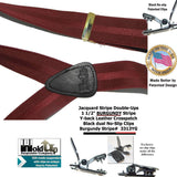 "Hold-Ups Burgundy Jacquard Stripe Series Double-up Style 1 1/2"" with Patented No-slip clips"