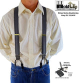 Holdup Gray Stripe Jacquard Dual Clip Double-ups dressy suspenders with Patented No-slip Metal Clips