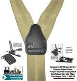 "Hold-Ups Tan Jacquard Striped Double-Up Style 1 1/2"" Suspenders with No-slip clips"