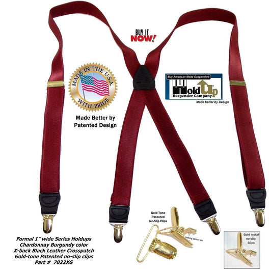 Holdup Brand X-back Formal Dark Chardonnay Burgundy Men's Suspenders with Gold tone patented no-slip Clips