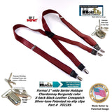 Holdup Suspender Company X-back Formal Chardonnay Burgundy Men's Suspenders with patented Silver no-slip Clips