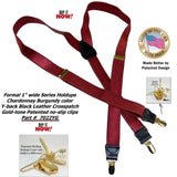 Holdup USA made Y-back Formal Chardonnay Burgundy Color Men's Suspenders with patented Gold tone no-slip Clips
