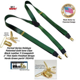 "Holdup Suspender Company's Dark Green 1"" wide Satin finished Suspenders in Y-Back style with No-slip Gold Clips"