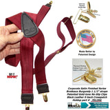 "Holdup Brand dark Bordeaux Burgundy 1 1/2"" wide Satin Finish Suspenders in X-Back Style with Patented No-slip Gold-tone Clips"
