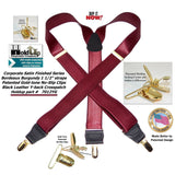 USA made HoldUp Bordeaux Burgundy Satin Finish in Y-Back Suspenders with Patented No-slip Gold-tone Clips