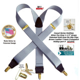 "HoldUp Brand Silver Fox Light Gray 1 1/2"" wide Y-back Suspenders with Patented No-slip Gold tone Clips"