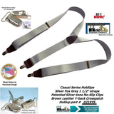 "Holdup Brand Silver Fox Gray Y-back USA made Suspenders are 1 1/2"" wide and have Patented No-slip Silver Clips"