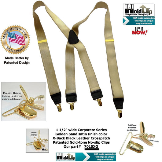 Holdup Brand Corporate Series Satin Finish Golden Tan X-back Suspender with Gold-tone No-slip Clips