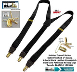 "Holdup Brand Black Formal Series 1"" Satin Finished Suspenders in Y-back with Gold No-slip Clips"