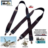 Holdup Suspender Company presents the French Horn Pattern X-back Suspenders with Patented No-slip Clips