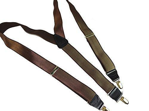 Hold-Ups Walnut Brown Satin Finished Corporate Series Suspenders Y-back Silver Clips