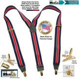 HoldUp Brand Stripe Series Y-back Suspenders with Patented No-slip Gold-tone Clips