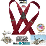 HoldUps Burgundy Stripe Jacquard Series Suspender with Patented No-slip Silver Needle Point Pin Clips