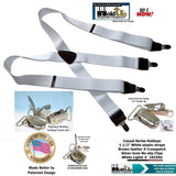 Holdup Brand White Casual Series X-back Suspenders with Patented No-slip Nickel clips
